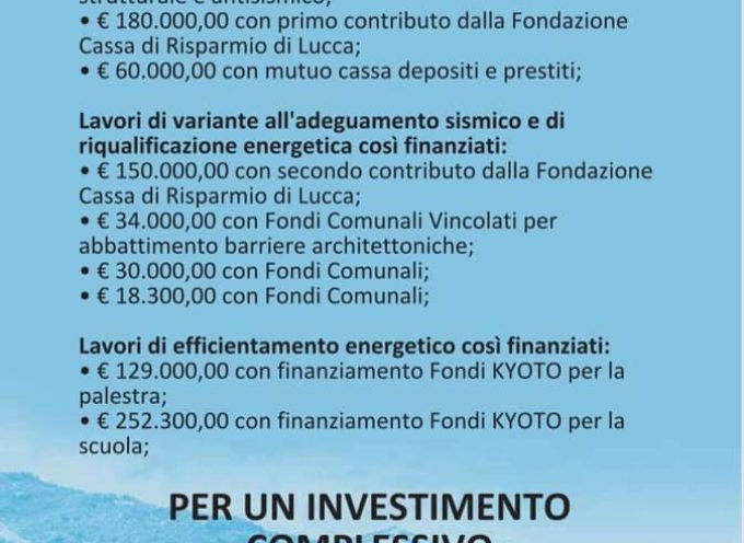 Mai così tanti soldi investiti a Castiglione di Garfagnana.