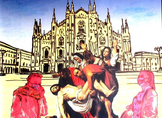 IL PITTORE VERSILIESE CARLO CARLI DONA UN QUADRO ALLA PARROCCHIA DI SANTA MARIA INCORONATA DI MILANO SULLA SOFFERENZA DURANTE IL COVID