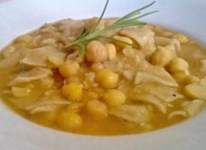 I piatti del freddo: la minestra di ceci e maltagliati.