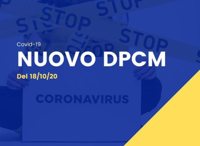 DPCM DEL 18 OTTOBRE 2020.Le nuove misure per locali, scuola e trasporti.