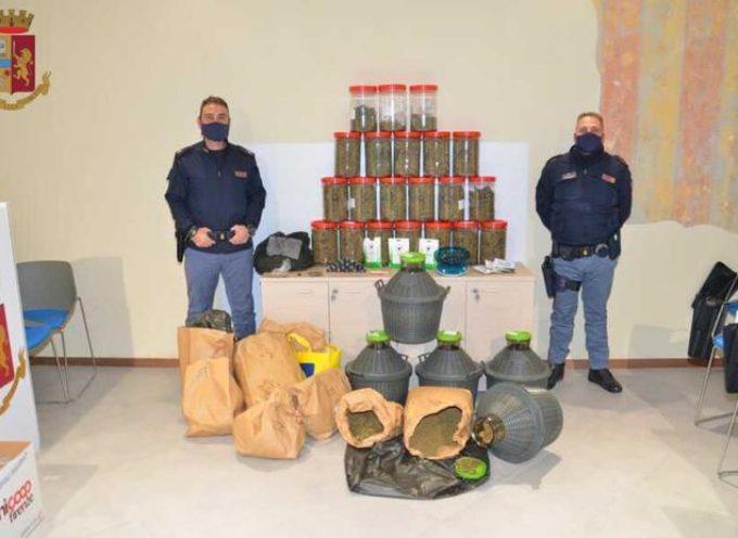 Nasconde 13 kg marijuana in damigiane e barattoli, arrestato