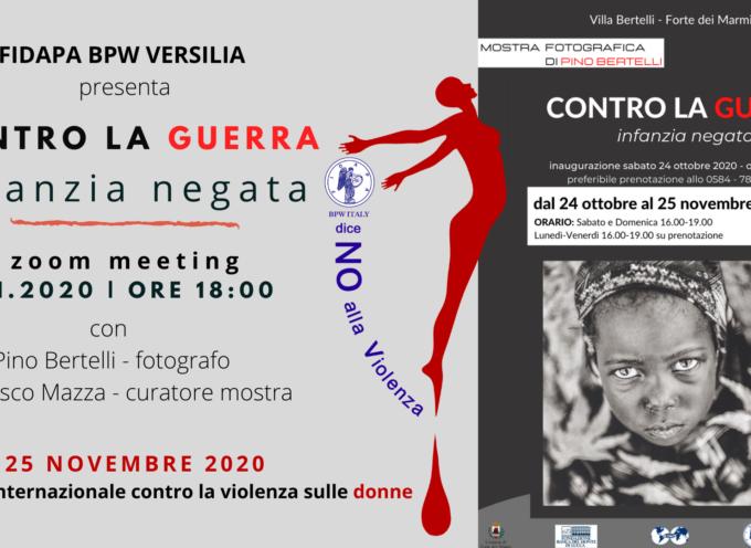 Incontro on line a Villa Bertelli per la mostra fotografica Contro la guerra. Infanzia negata,