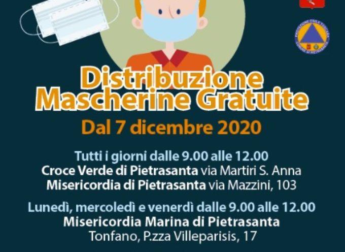 Emergenza sanitaria: mascherine gratuite, il calendario dal 7 dicembre