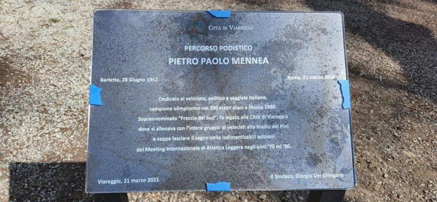 VIAREGGIO – PERCORSO PODISTICO PIETRO MENNEA – APPOSTE LA TARGHE IN RICORDO DEL CAMPIONE