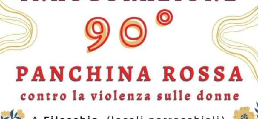 Barga.. Inaugurazione di una panchina rossa a Filecchio