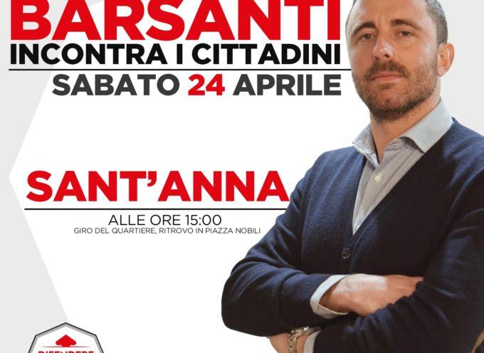 Il consigliere comunale Barsanti incontra i cittadini sabato pomeriggio a Sant'Anna
