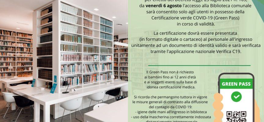 Green Pass: da venerdì 6 Agosto l'accesso alla Biblioteca Comunale L. Quartieri sarà consentito solo agli utenti in possesso della certificazione verde