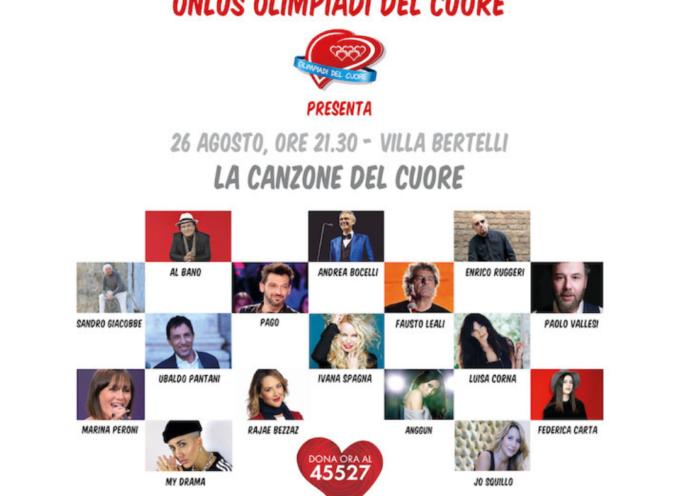 La Canzone del Cuore ospiterà sul palco di Villa Bertelli alcuni tra i più amati artisti italiani e non solo.