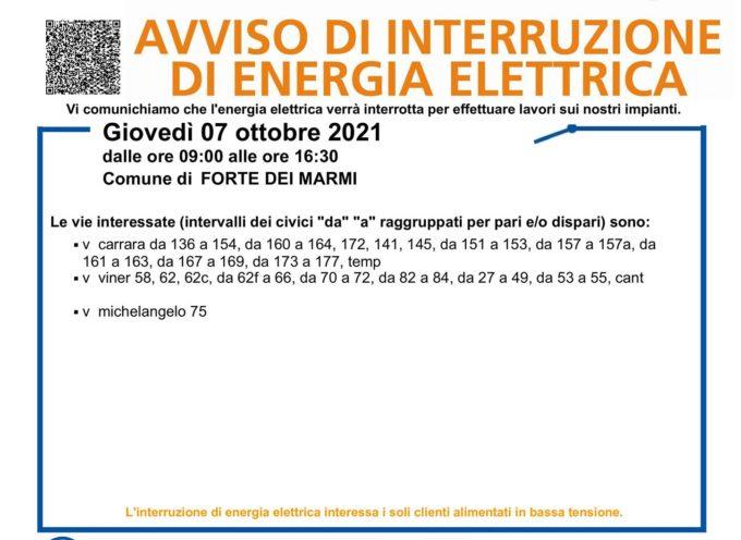 ENEL  – Interruzione dell'energia elettrica a Forte dei Marmi