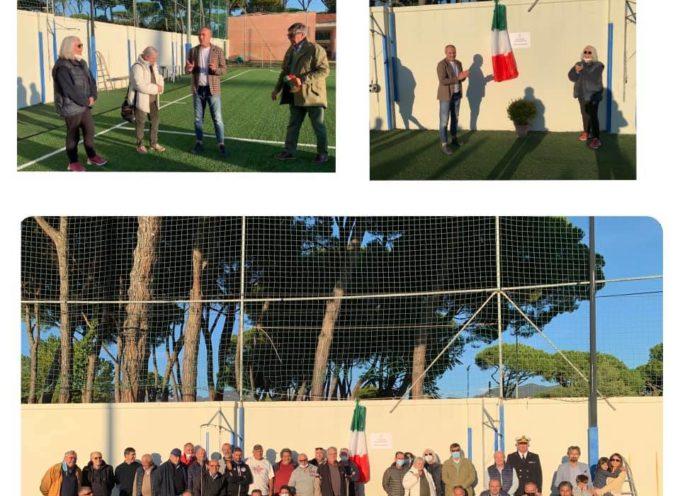 Intitolazione ieri pomeriggio del nuovo campo di allenamento in sintetico, all'interno dello stadio Necchi Balloni, a Giovanni Biagi