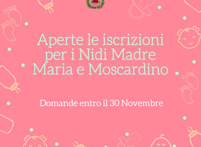 Sono aperte le iscrizioni per i Nidi Madre Maria e Moscardino, domande entro il 30 Novembre 2021