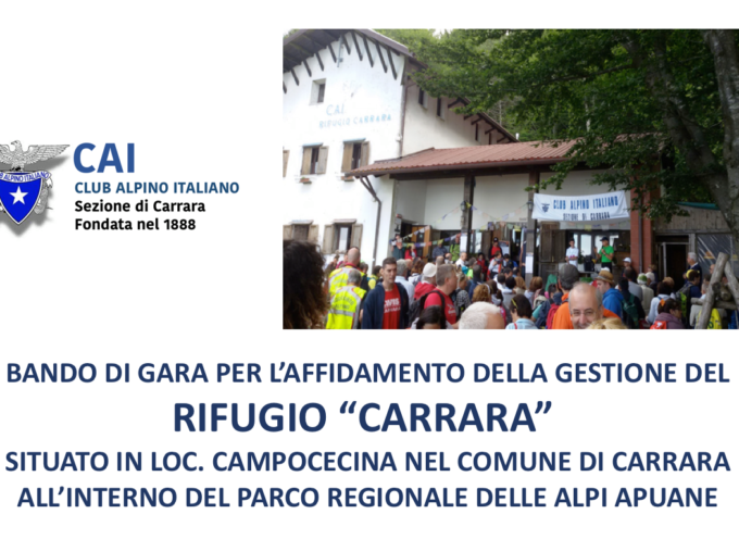 """La sezione di CAI di Carrara indice un bando per l'assegnazione della gestione del proprio Rifugio """"CARRARA""""."""